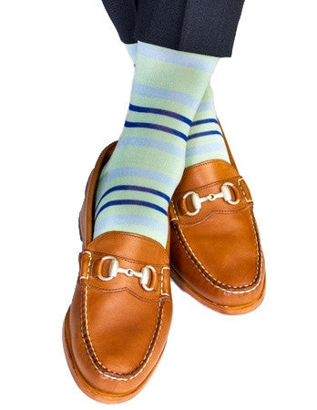 Mint Green with Sky Blue and Clematis Blue Double Stripe Linked Toe Mid-Calf