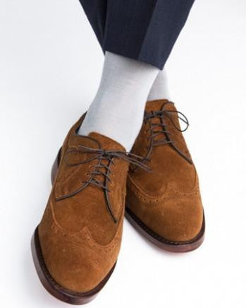 Grey Ribbed Sock Fine Merino Wool Linked Toe Mid-Calf