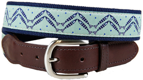 Herringbone Fish Leather Tab Belt