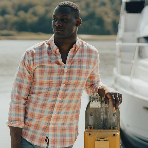 Louis Plain Weave Slub Button Down Sunrise
