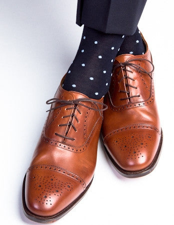 Navy with Sky Blue Dot Socks Linked Toe Mid-Calf