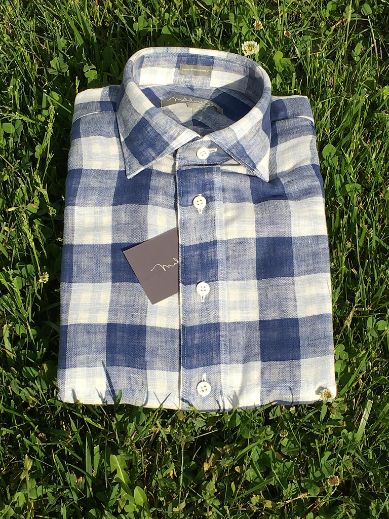 Madeleine Finn Cotton/Linen Blue Check Sport Shirt