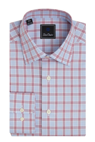 Houndstooth Colored Plaid Barrel Cuff Regular Fit Dress Shirt