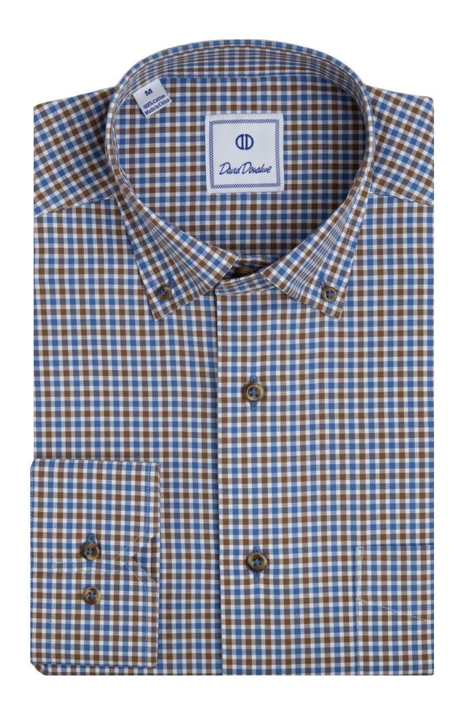 Blue Plus Color Basketweave Check Sport Shirt