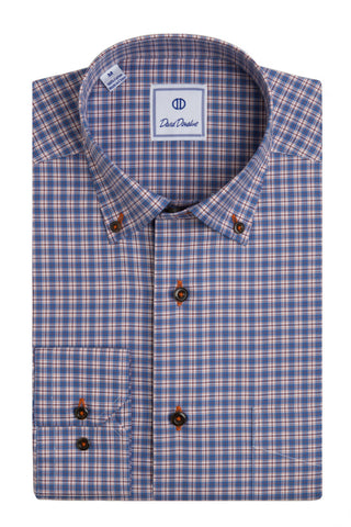 Colored Ground Windowpane Small Plaid Sport Shirt