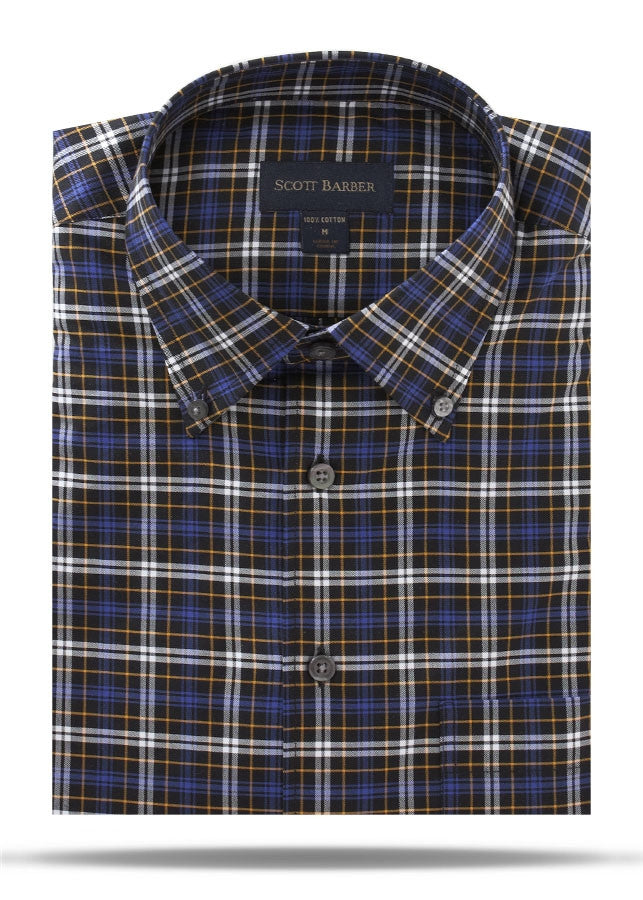 Black, Blue & White Plaid Sport Shirt