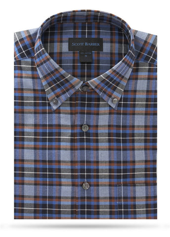 Black, Mid Blue, Brown & Gray Check Sport Shirt