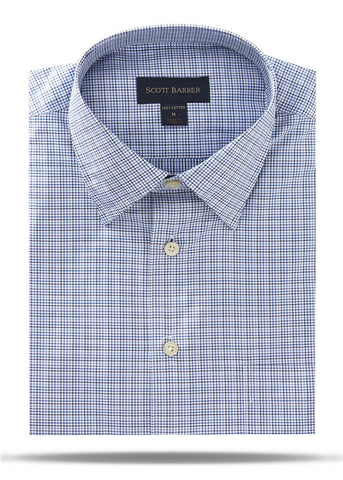 Blue, White & Navy Micro Check Sport Shirt