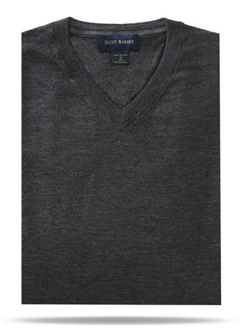 Charcoal Merino V-Neck Sweater