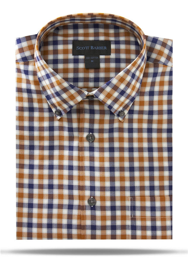 Ivory, Navy, Tobacco & Gray Check Sport Shirt