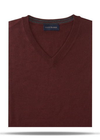 Maroon Merino V-Neck Sweater