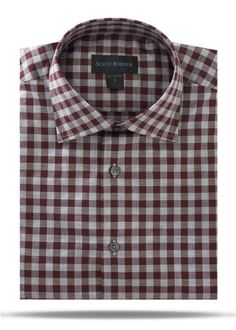 Merlot & Gray Oxford Check Sport Shirt