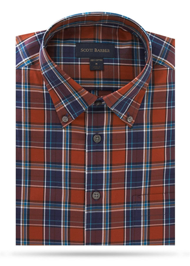 Navy, Rust, White & Gold Plaid Sport Shirt