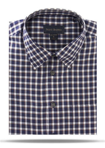 Navy, White & Brown Herringbone Check Sport Shirt