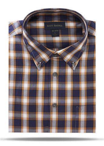 Navy, White & Gold Plaid Sport Shirt