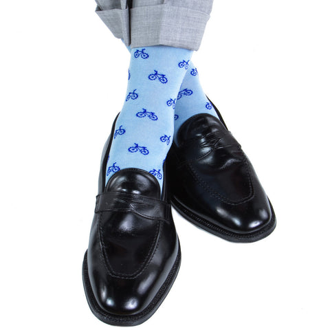 Sky Blue with Clematis Blue Bicycle Sock Linked Toe Mid-Calf