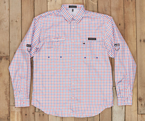 Harbor Cay Fishing Shirt - Abaco Grid - Navy & Red