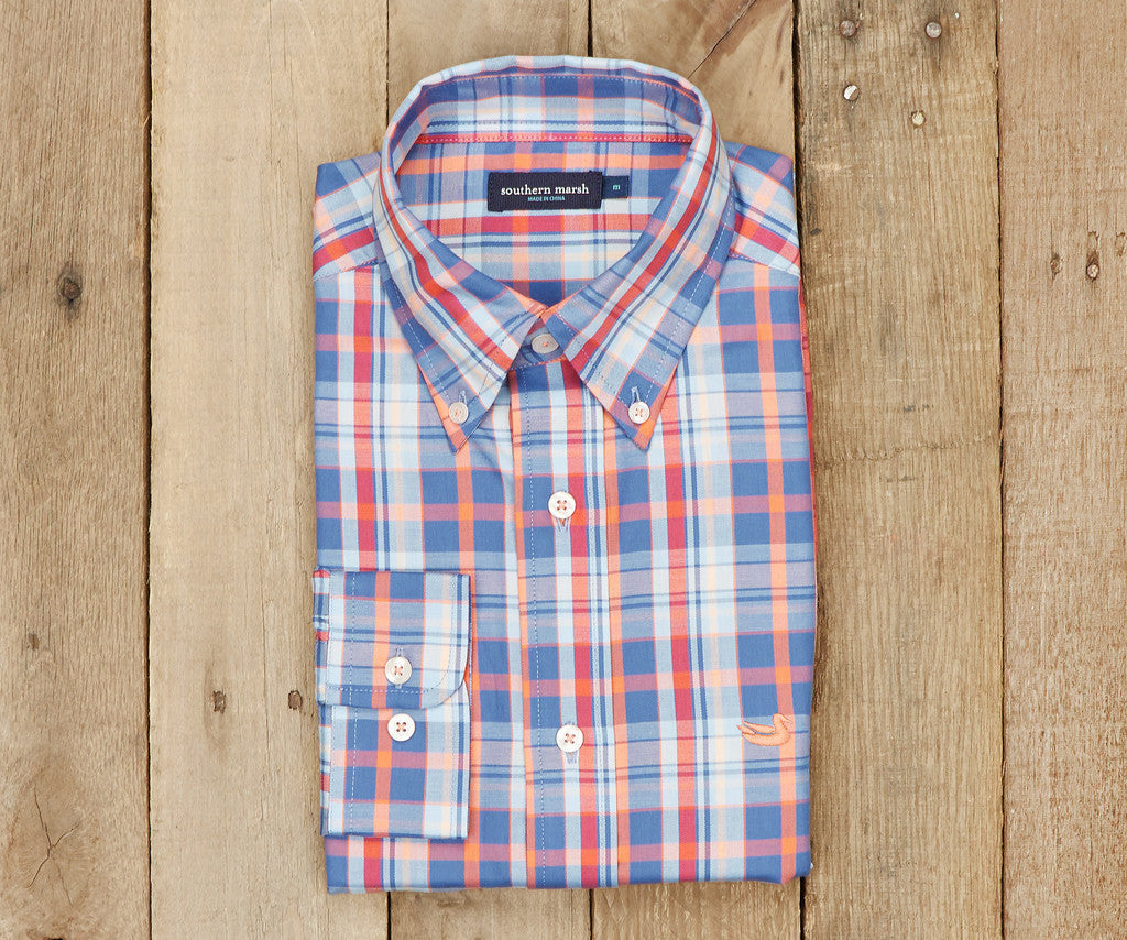 The Walton Plaid - Navy & Coral Plaid