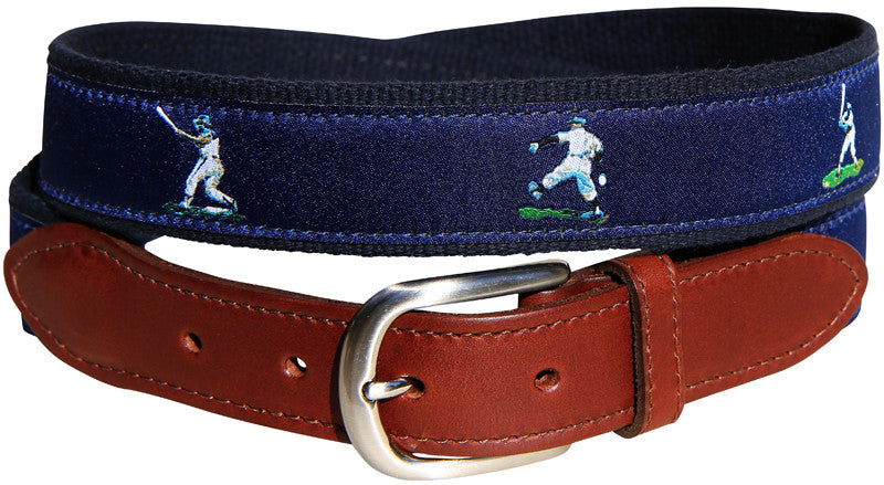 Vintage Baseball Leather Tab Belt