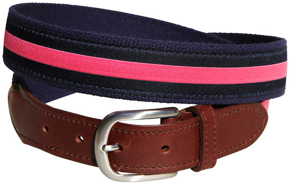 Horizontal Stripe Leather Tab Belt