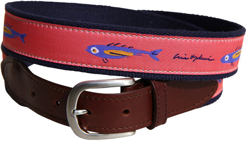 Eric Hopkins Coral Fish Leather Tab Belt