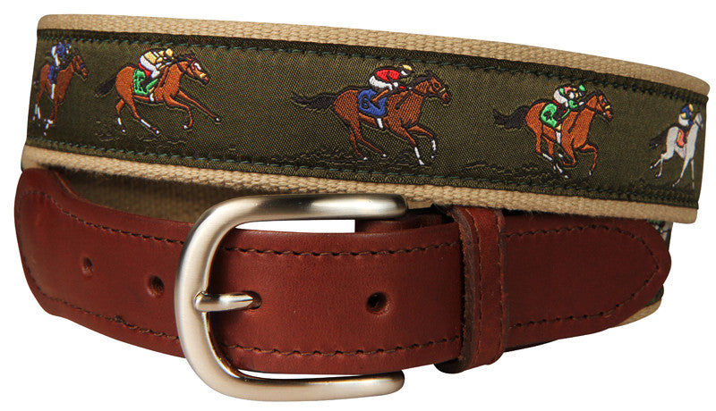 Horse Race Leather Tab Belt