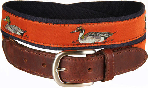Ducks Leather Tab Belt