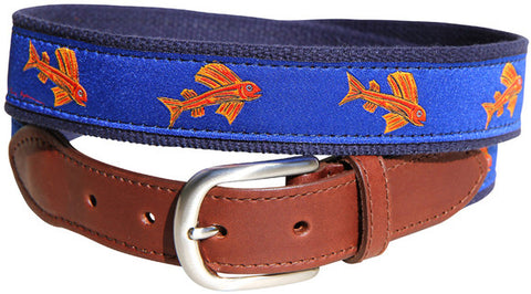 Eric Hopkins Flying Red Fish Leather Tab Belt