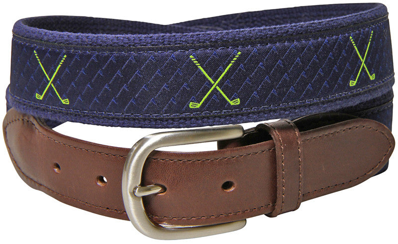 Golf Clubs Leather Tab Belt