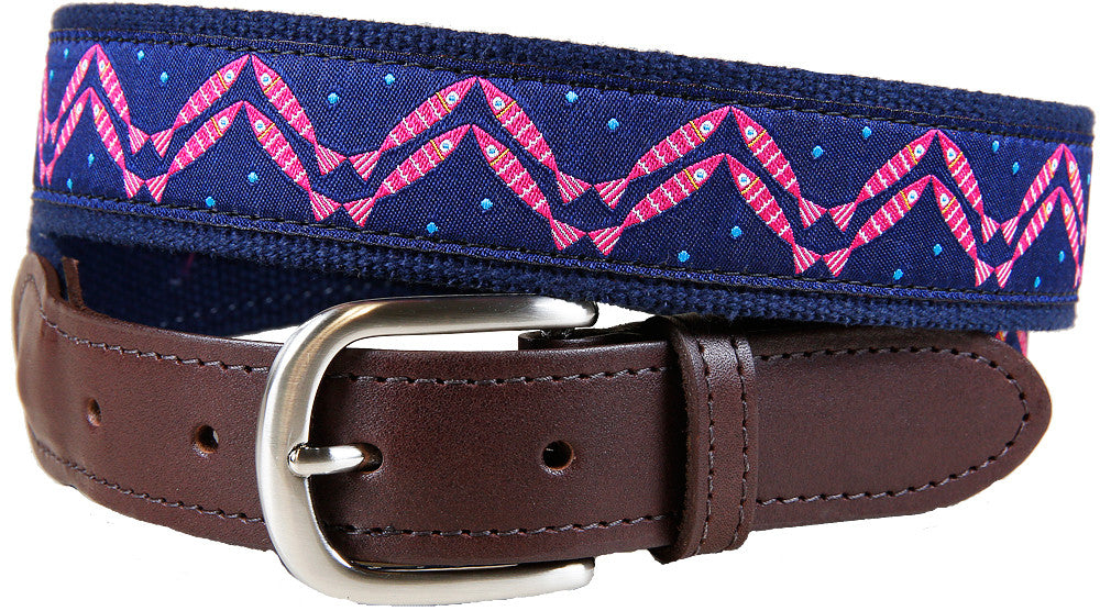 Herringbone Fish (Navy) Leather Tab Belt
