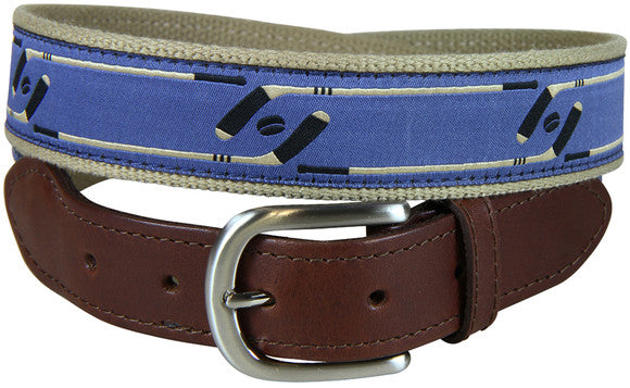 Hockey Leather Tab Belt