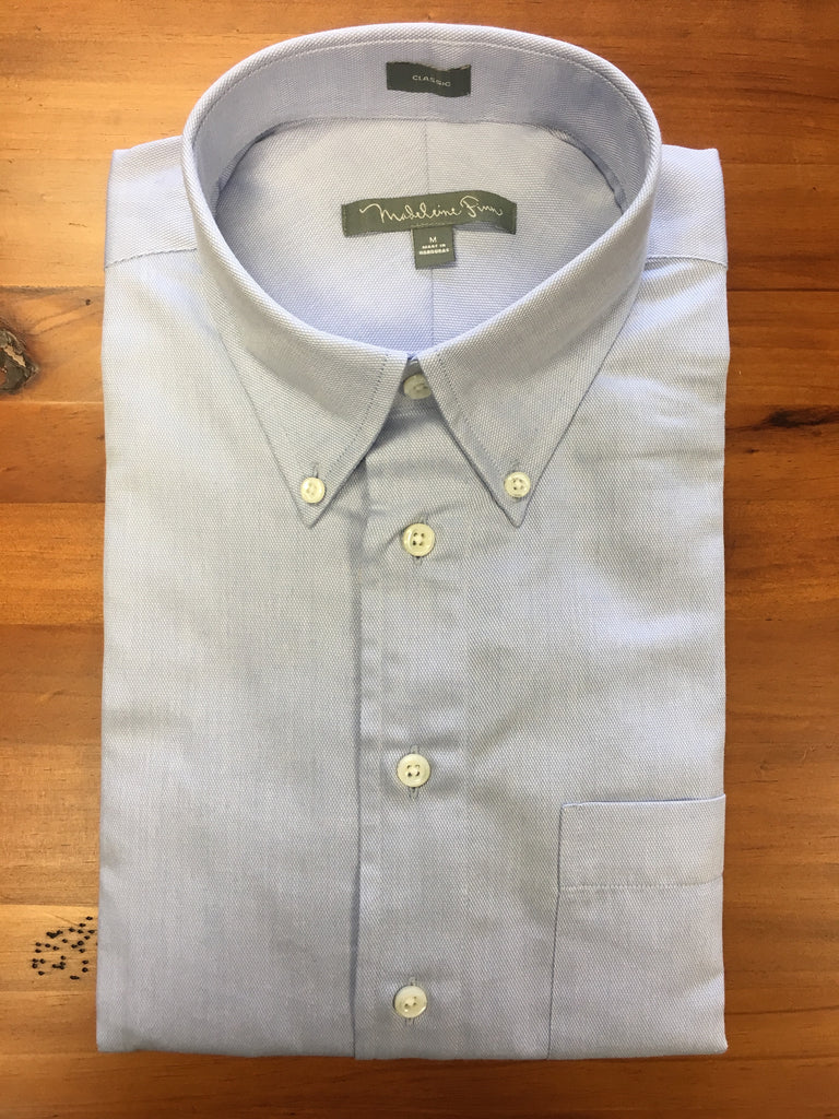 Pique Mesh Button Down Sky Blue