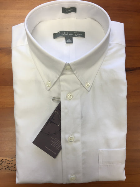 Pique Mesh Button Down White