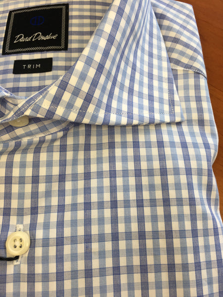 Blue Plaid Spread Collar Trim Fit