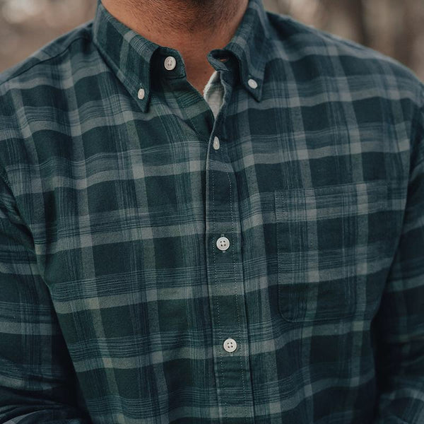 Space Dyed Button Down Green Plaid