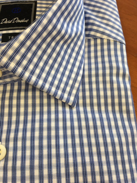 Blue Check Spread Collar Trim Fit