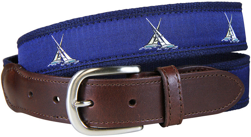 Match Sailboat Race Leather Tab Belt