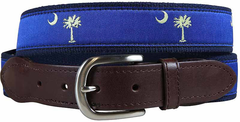 Palmetto Tree & Crescent Moon Leather Tab Belt