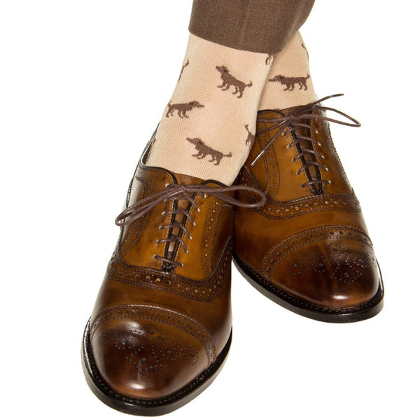 TAN WITH BROWN DOG COTTON SOCK LINKED TOE MID-CALF