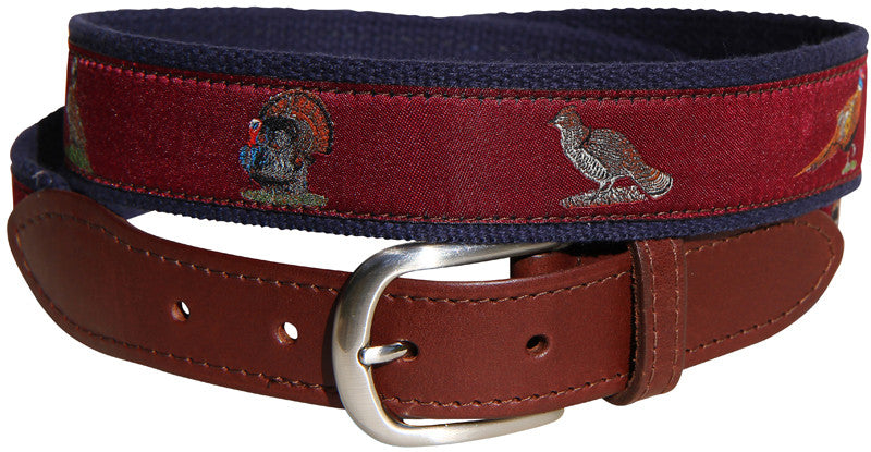 Woodland Birds Leather Tab Belt