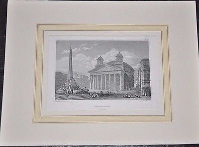 Original Das Pantheon in Rom ( Rome ) Etching by Emil Hofer ~ 1850