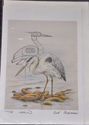 Large Print Card by Sue Coleman called The Heron measuring 9x6""