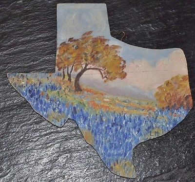 "Original Texas Folk Art Painting Oil on Wood Carved as Texas Map 8"" x 8"""