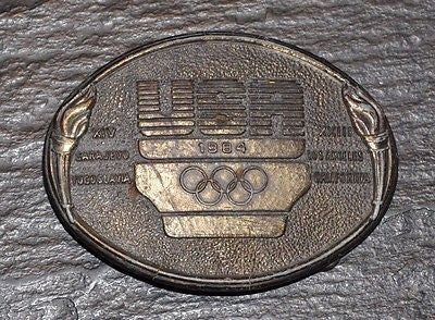 Team USA 1984 Olympics USOC Solid Brass Belt Buckle.