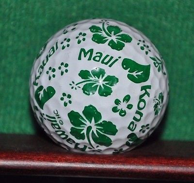 Hawaii Hibiscus logo golf ball. Green Excellent Condition