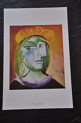 "Woman with Beret by Pablo Picasso Fine Art Print 17"" x 11"""