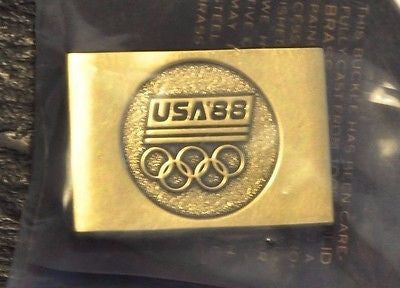 Team USA 1988 Gold Olympic Belt Buckle USOC Brass Made in USA New in Package