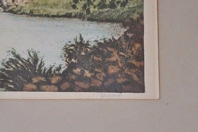 Original Paris Etching Society of New York Signed Pierre River & Cottages Scene
