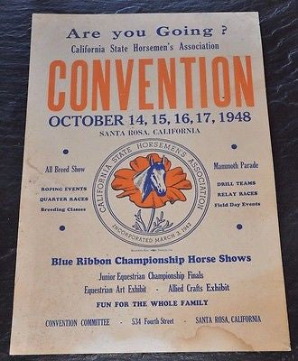 Vintage 1948 California State Horsemen's Association Poster 20x13 Inches Sonoma