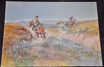 Mounted Lithograph. Charles M Russell 'When Cows Were Wild' 12x17""